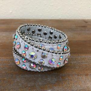 White Leather Rhinestone Wrap Bracelet